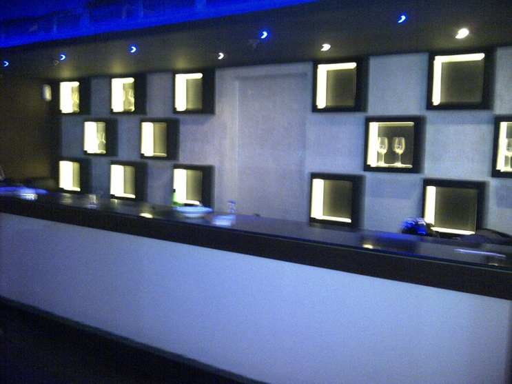 cubical shape showcases with black border