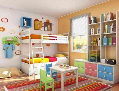 boy bedroom decoration using white wood. kid bunk bed including red stripe rug for kid room and orange light.