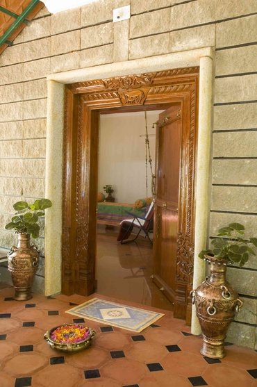 Traditional Front entrance door with stone frames
