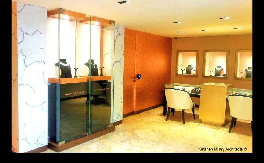 Jewelry Shop with Copper Leafed Wallpaper
