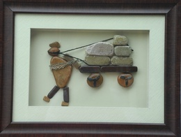 Natural Pebble Stone Art – A Man With Trally
