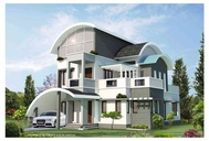 Curved roof residence