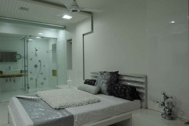 White Master Bedroom with Master Bath