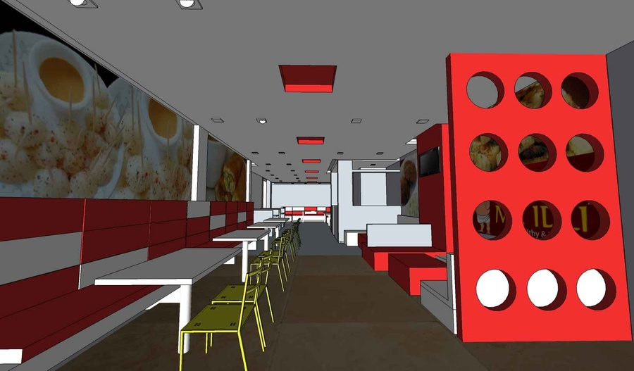 The initial rough sketch design for the Restaurant
