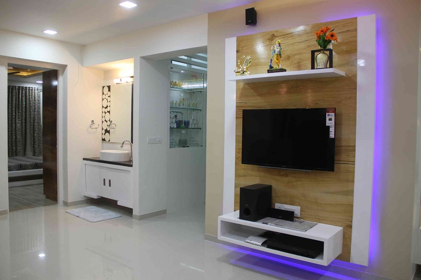 Tv Stand Designs Chennai : Interior flat by sanket rudani designer in