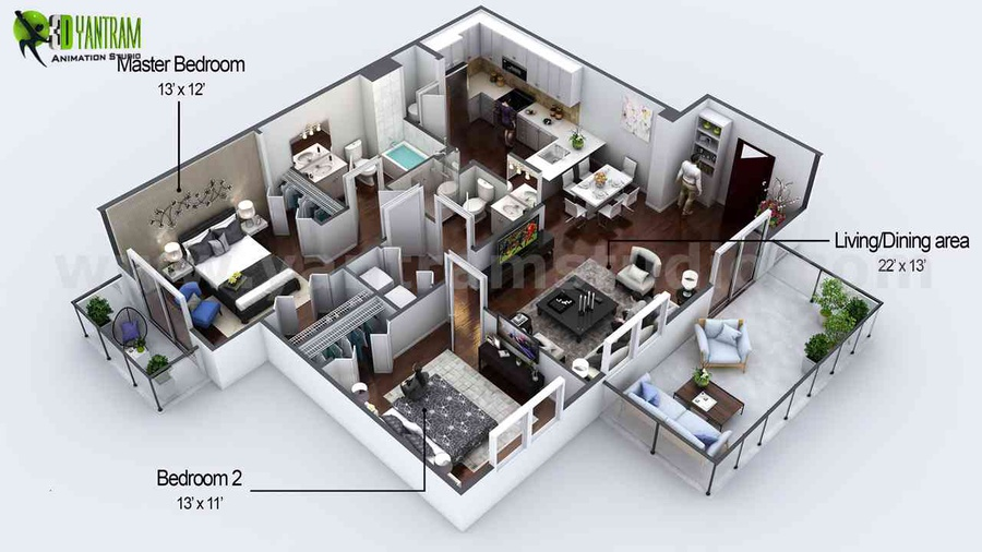 3D Floor Plan Design Ideas Modern Design