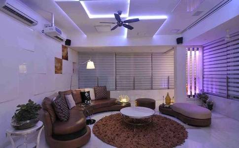 White and Brown Living Room with Ceiling Light
