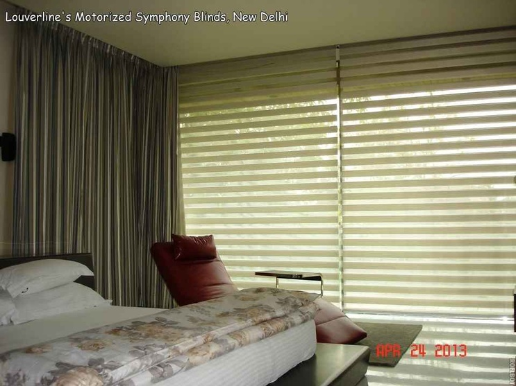 Motorized Symphony Blinds used in the Bedroom