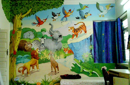 kids room wall painting