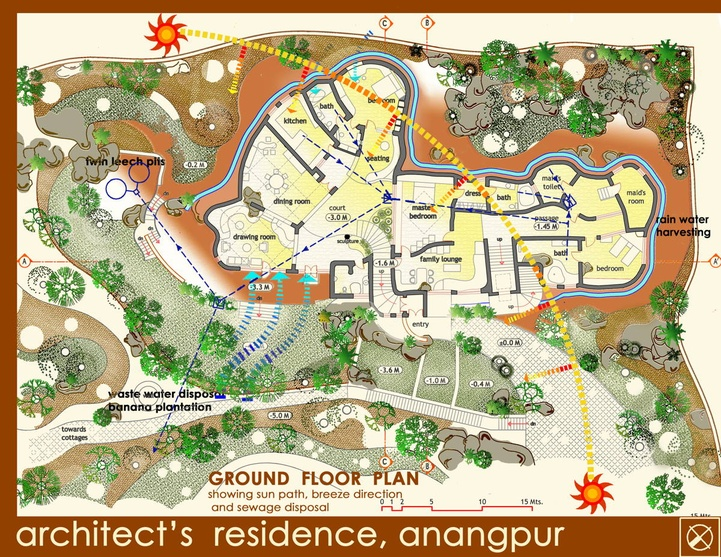 Architect's Residence at Anangpur Plan