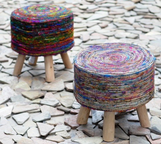 Silk Swirl Wooden Pouf Stool