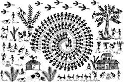 Warli Art Village Wall Decal ( KC011 )