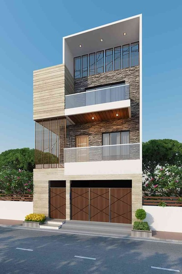106 sq yd row house by Hardik Anghan, Architect in Surat