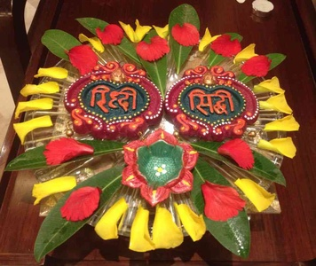 Dhanteras decor with flowers