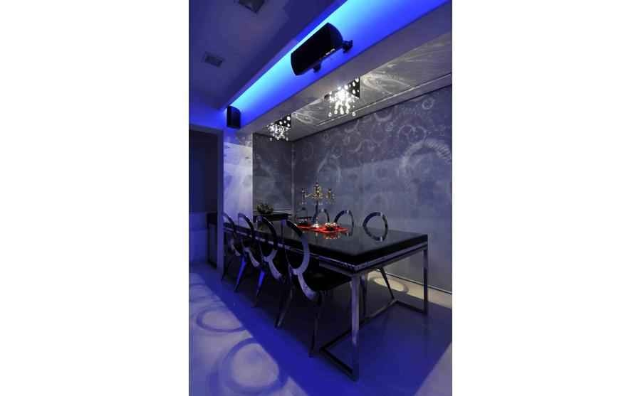 Modern Dining Area in Blue Light