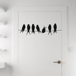 Seven Birds in Row Wall Decal ( KC270 )