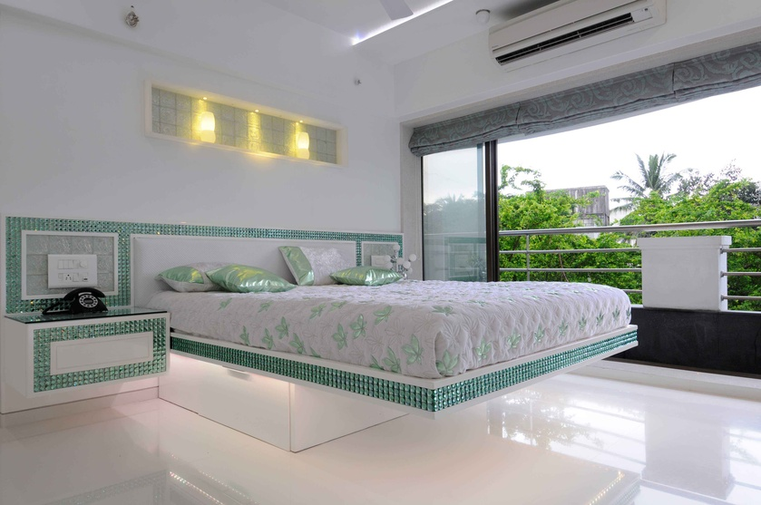 White and Gren Bedroom with Slider Glass Windows