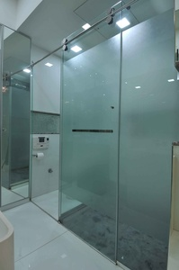 Bathroom and Dressing Room Separated by Glass Panels