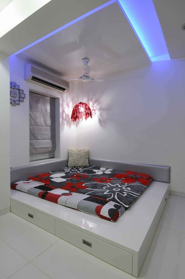 Modern White and Red Bedroom