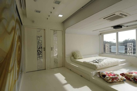 Modern White Bedroom with Sunlight