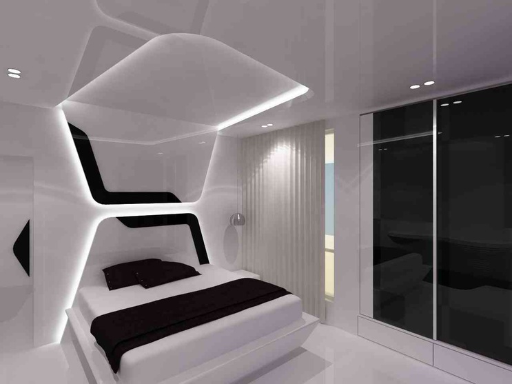 The bedroom space designed for the boy is funky with colours and uniqe recessed lightings