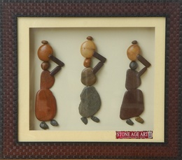 Village Women with Pots – Natural Pebble Stone Art
