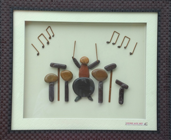 Natural Pebble Stone Art – A Musician with Instruments
