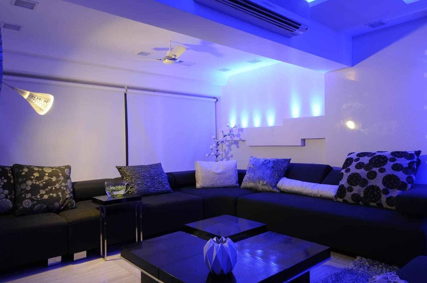 Black and White Living Room in Blue Light
