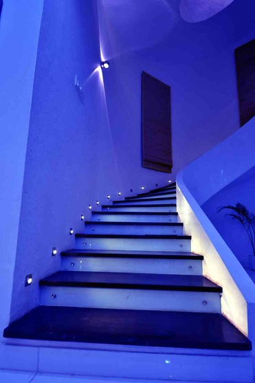 staircase in night