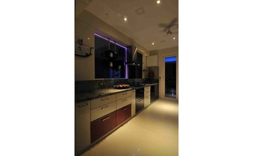 White Kitchen when viewed at the night
