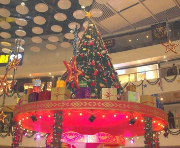 An elevated Christmas Tree at the Pacific Square Mall.