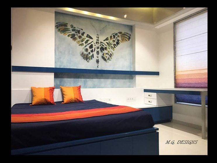 Zingyedit showcasing a funky colored bedroom setup done in high toned hues such as the vibrant tangy orange against the cool blues