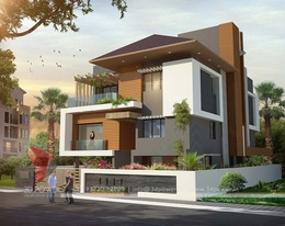 Stunning 3D Ultra Modern Villa day rendering and elevation design by 3D Power