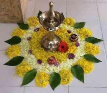 Rangoli home decor with Flower and leaf.