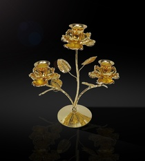 Buy Gold Plated Candle Stand 3-Roses