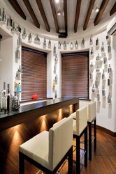 A steel-bottled installations is the highlight of the bar area.