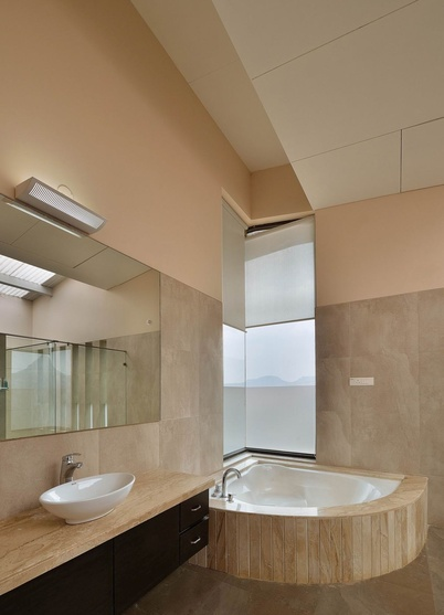 Modern Bathroom with Corner Bathtub