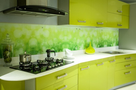 The Green Acrylic kitchen with Painted Glass Back Splash !!