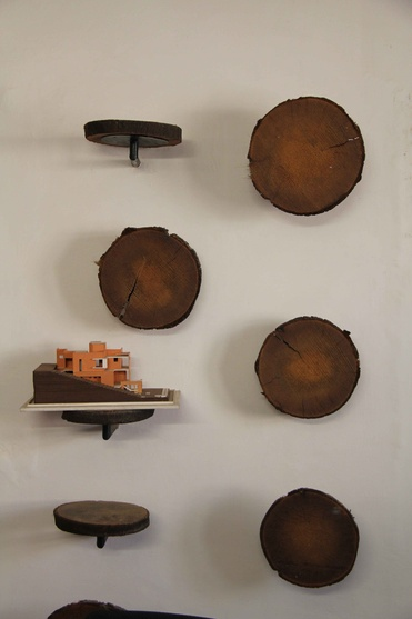 Wall wooden display at the Office for TechnoArchitecture