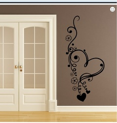 Flowers and Heart Wall Decal ( KC166 )