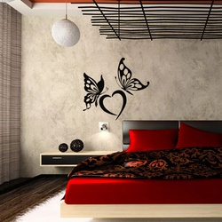 Heart and Butterflies Wall Decal ( KC313 )
