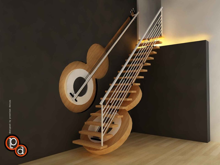 Guitar Staircase By Preetham Dsouza Interior Designer In Mangalore