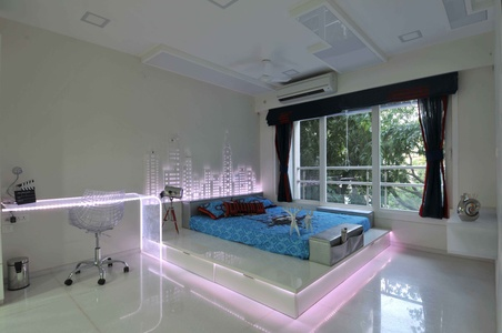 White Bedroom in White Neon Light