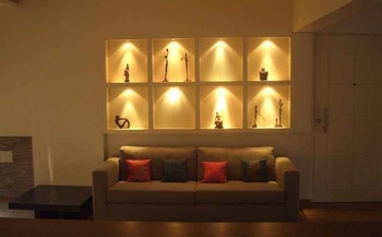 Niches Behind Sofa Designed by Interior Designer Shahen Mistry