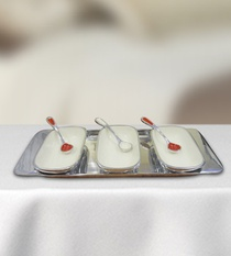 Rectangle Platter Set with 3 Bowls and Spoons