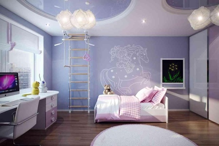 Elegant Stylish Violet Pink Kids Room Decoration for Girls with Computer Desk and Hardwood Floor Tiles.