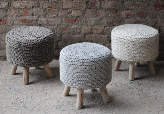 Montana Luxury Wood Stool by The Rug Republic