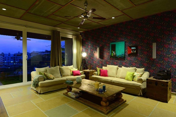 Living Room With Wallpaper Design By Interior Designer Hameeda Sharma