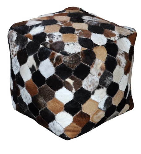 Masai Leather Patchwork Poufs