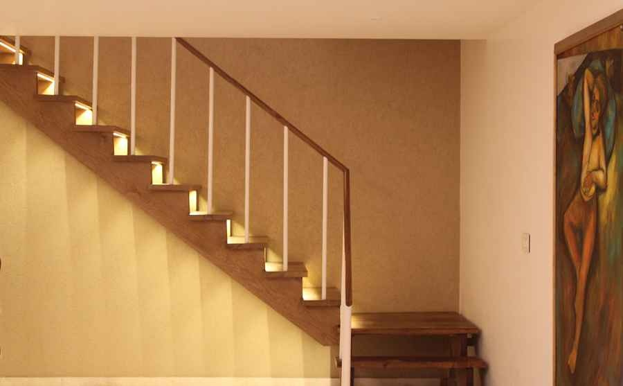 Backlit Structural Wooden Staircase